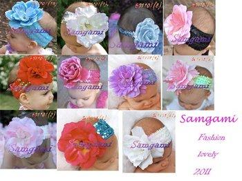Wholesale - Crochet head band bow clip flower Crochet girls Hair bands hairpins baby hair--DYQ705A