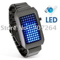 Free shipping Zero Kelvin  Rare Stainless Men's Iron Samurai Style Blue LED Electronic Watch