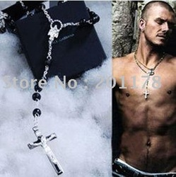Brand New Sterling 925 Solid Silver Black Bead Cross Chain David Beckham Rosary Necklace Pendant Free Ship(China (Mainland))