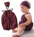 Baby Short Sleeve Rompers PP Warmer Suit Cotton Romper+Hadscarves One-piece Toddler Bodysuit Free shipping B9021