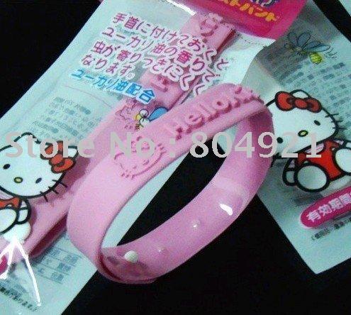 shipping/100pcs livres / lote / OLÁ KITTY pulseira repelente ajustável - rosa / novo brinquedo / vendedor quente(China (Mainland))