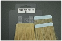 pu tape weft in hair extension Grade AAA 12inch 24# blonde free shipping
