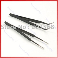 Free shipping! 2 X Nail Art Watch Craft Curved Straight Tweezers Tool