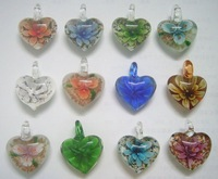 Free Shipping 10pcs/lot Multicolor Heart murano Lampwork Glass Pendants For DIY Craft Jewelry PG0*