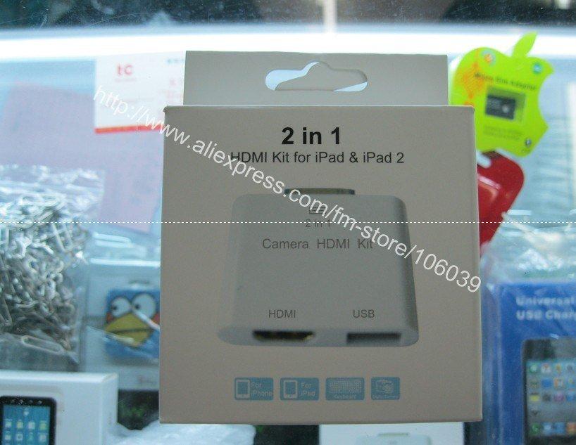 2 in 1 camera HDMI kit for ipad &ipad2 connective dock for ipad 2(China (Mainland))