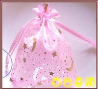 Hot stamping stars yarn bag, dried flower bags, gift bags, joyful candy bags, candy bags, xi egg bag. Jewellery bags 7*9cm