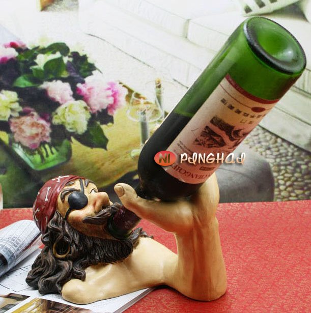 Novelty,Resin wine rack, love drinking red wine, pirates, arts and crafts/FREESHIPPING(China (Mainland))