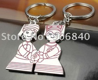 New Arrival Chinese Ethnic Wedding Lover Metal Key Chain Zinc Alloy Key Holde Romantic Valentines Gift 60pairs/Lot Free Shipping