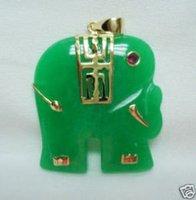 3 PC Beautiful Green Jade Elephant Pendant Necklace 100% free shipping