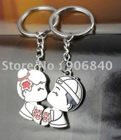 Wholesale Double Happiness Wedding Lover Key Holder Metal Alloy Keyrings Wedding Gifts Giveaways 60pairs/Lot Free Shipping