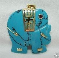 3 PC Natural turquoise Jade Elephant Pendant Necklace 100% free shipping