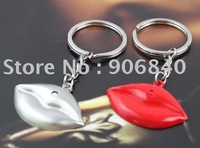 HOT SELLING Romantic Red Lips Couple Keychain Alloy Key Ring Valentine Gifts Giveaways 60pairs/Lot Free Shipping