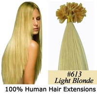 "26""nail tip human hair Extensions 100s #613 lightest blonde,0.7g/s"