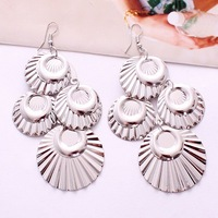 Fashion Ladies Women's Alloy Round Disc Dangle Earrings, Copper with Platinum Plated, Accept Paypal/OEM/Mix Order