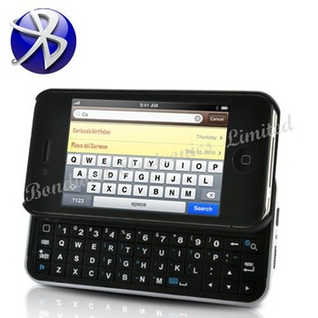 Free Shipping New Arrival Bluetooth Slider QWERTY Keyboard Case for iPhone 4