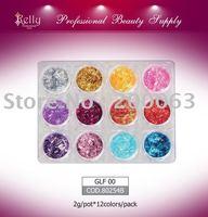 Free Shipping 12sets/lot Nail Art Decoration Colored Cosmetic Glitter  Glitter Long Filament