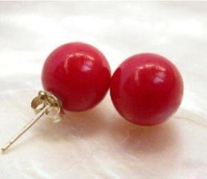 4 PC Fashion red coral stud earrings Free shipping
