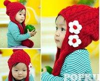 36pcs Earflaps Knit Baby Caps cap Baby Girl hats Baby Infant beanie caps Children Flower Hat cap