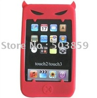 Wholesale Red Devil Silicone Case Skin Cover For iPod Touch 2G/3G 2 3 Free shipping