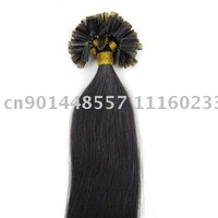 "20""remy nail tip human hair Extensions 100s #1B natural black,0.5g/s"