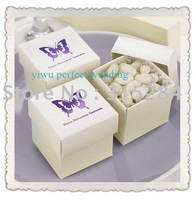 FREE SHIPPING-- Hot 2PC Metallic Cream Wedding Favor/Candy Boxes(XY-115c)
