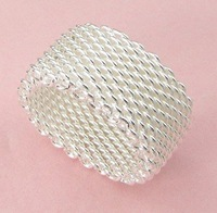 S08 promotion Free shipping wholesale silver mesh ring fashion jewelry