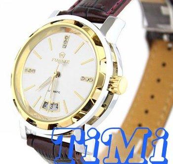 wholesale Fashion Gold Date Auto Mechanical Men Diamond Watch New 2012 HOT