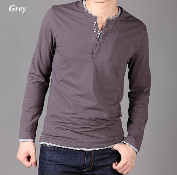 Free shipping new fashion men's t shirt long sleeve spring clothing cotton slim Black blouse coat(China (Mainland))
