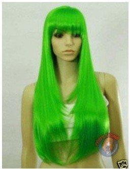 beautiful green long hair women's accessories full wig Free shipping