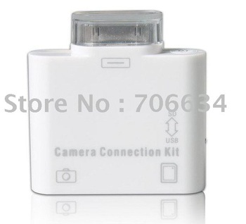 Free shipping 10pieces 2 in 1 camera connection kit card reader for iPad2,accessories for ipad
