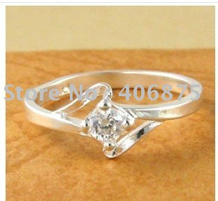 best selling/925 silver ring/ Simulated Diamonds /fashion ring/ Flower shape925 silver jewelry/20pcs/lot Mixed order(China (Mainland))