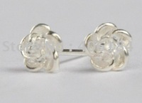 990 sterling silver flower design  earrings, silver ear nails,silver jewelry earrings 2pcs per lot retails are welcome