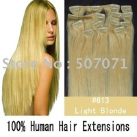 "20"" 22"" 24"" 10pcs remy human hair clip in extensions clip on hair 120g/set  #613 lightest blonde 2sets/color/lot"