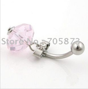 Free shipping Wholesale Surgical Stainless Steel Belly Navel Stud Rings Chain Pink Crystal body piercing jewelry/10pcs/lot(China (Mainland))