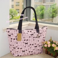 2011 new style women package high quality canvas bag single shoulder bandages the hands the handbag flowers kitty (powder)
