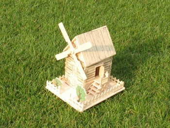 3D Wooden Puzzle House model windmill kit (turn) free shipping