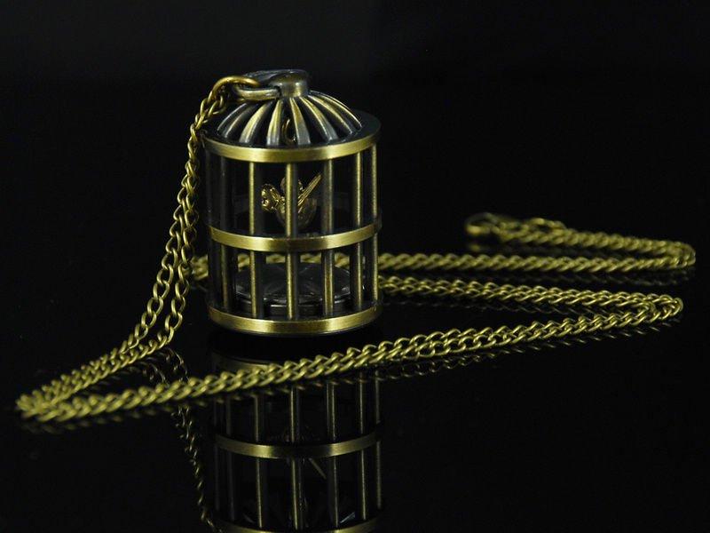 Frete grátis & atacado Natal do pássaro J084 presente em tom de bronze da gaiola do vintage relógio de bolso de presente(China (Mainland))
