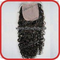 """silk base black kinky curly  virgin brazilian hair lace closure 4""""*4"""""""
