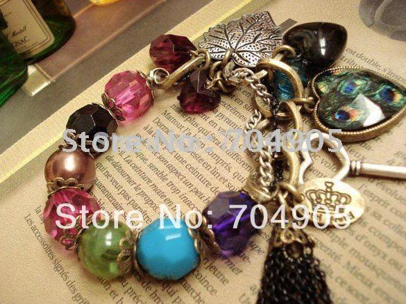 Min.order is $10 (mix order) Vintage Jewelry Black Gem Pendnat Long Chian Nice Necklace  New Style 00498