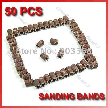 D19+Free shipping! 50 X Sanding Bands #80 Drill File Machine Bits Nail Art