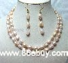 "wholesale free shipping 100% natural 16""18""8-9mm pink freshwater pearl necklace set"