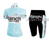 Free Shipping!! WOMEN CYCLING JERSEY+SHORTS BIKE SETS CLOTHES 2011 BIANCHI-BLUE-SIZE:S-4XL