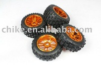CNC - Baja 5B Alloy Wheels & Tyres Set - Orange