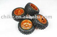 CNC - Baja 5B Alloy Wheels & Tyres Set - Orange