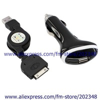 Combine Sale  20pcs/lot usb data cable for iphone + usb car charger for iphone 3g 3gs 4g ipod