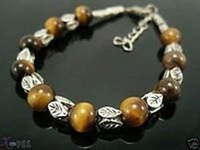 Free shipping Jewelry Tiger Eye Silver Amulet Bracelet