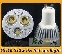 Good quality,3x3w,GU10 9w warm white led bulb light,3000-3300K,Epistar LED, optional degree,free shipping
