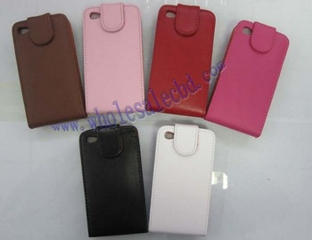 30 pcs Fashion Flip Genuine Leather Cover Case For iphone 4 4G