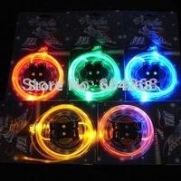 Hotsale 20pcs/lot (10pairs) free shipping Fiber Optic LED Shoe laces shoelaces neon led strong light flashing shoelace