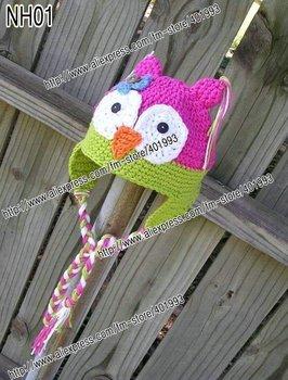 30pcs/lot 0-6Month newborn cap crochet baby owl hat children cotton hat Stripes Beanie with ear ANIMAL HAT crochet cap frog hat